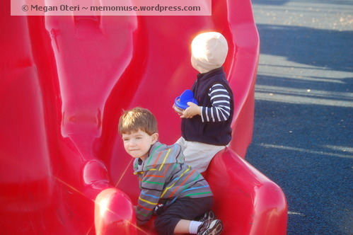 My son at the park with his friend