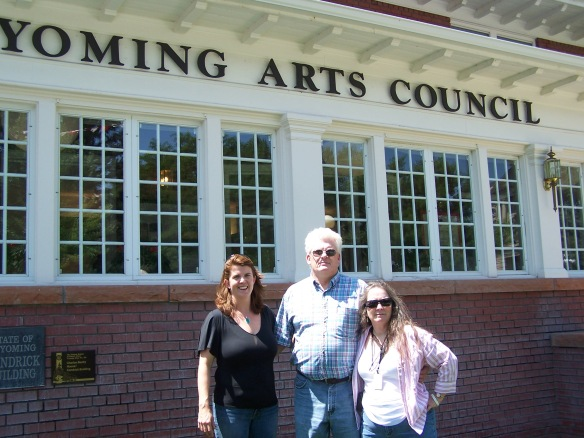 Mike and Chris Shay and me in front of the Wyoming Arts Council in 2009