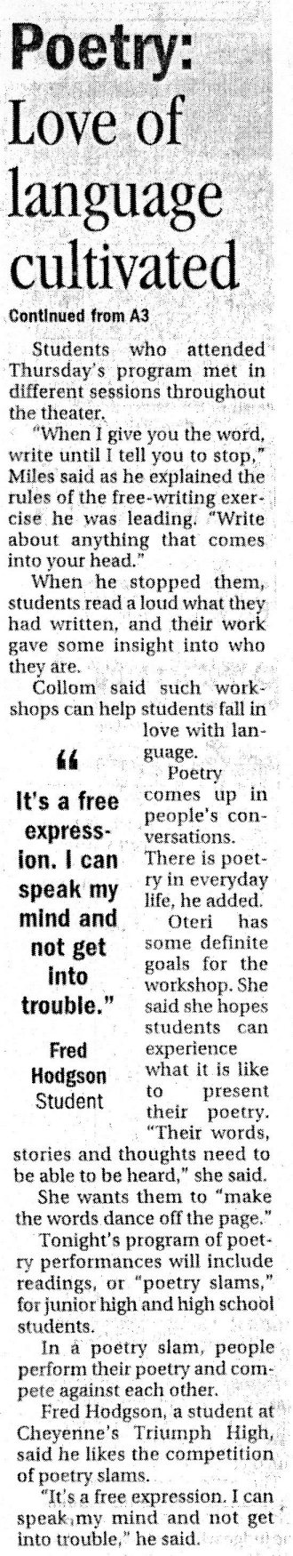 "Article about ""The Diverse Voices of Poetry in the Wyoming Tribune Eagle, October 2005"