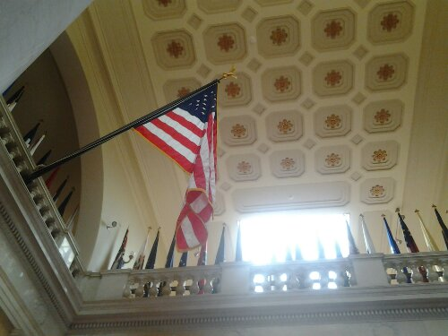 Flag at building by Tomb of the Unknown Soldier