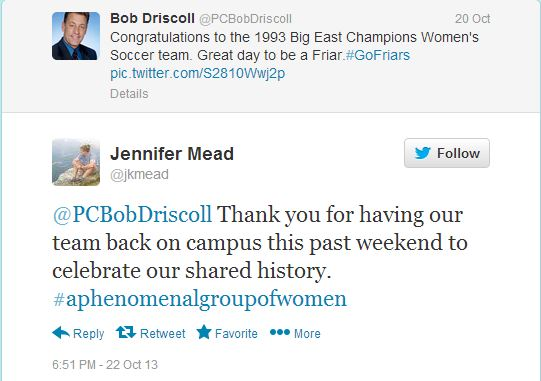 Twitter post between our goalie and former member of the US Women's National Soccer Team and Providence College Athletic Director, Bob Driscoll