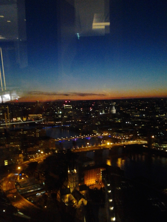 View from 35th floor of the Shard Building in London (from the Shangrai-la Hotel lobby).