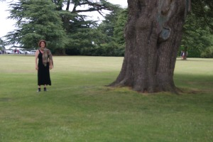 Standing next to a lovely tree on the Highclere Castle Estate (Downton Abbey)